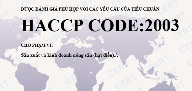 Đăng ký chứng nhận HACCP